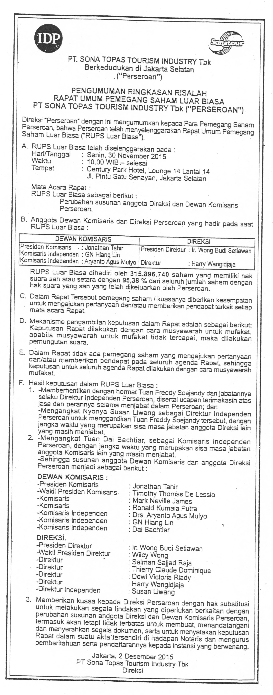Bukti Iklan Hasil RUPSLB 30 November 2015 di Koran Neraca 2 Desember 2015